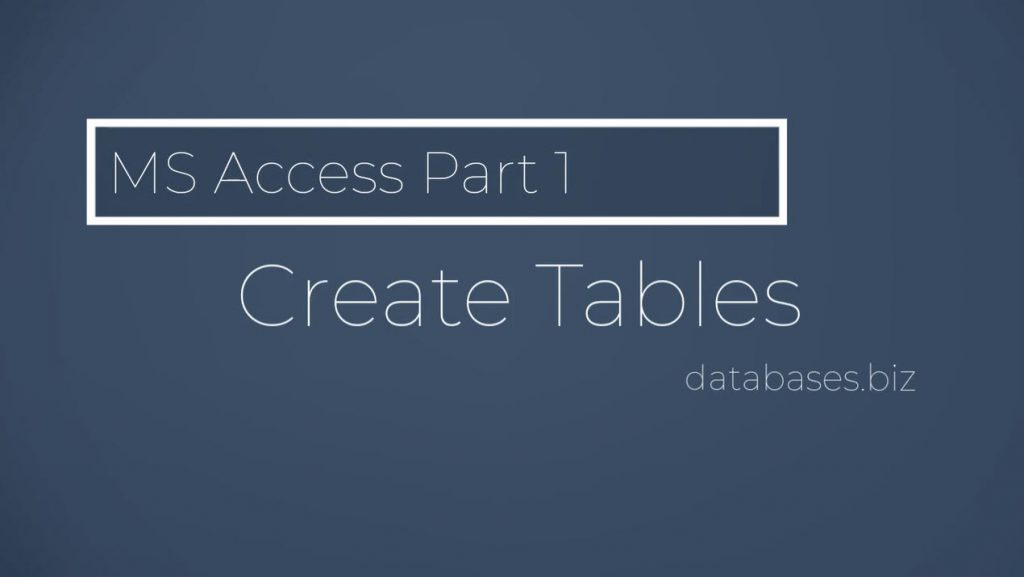 Part 1 – Create Tables